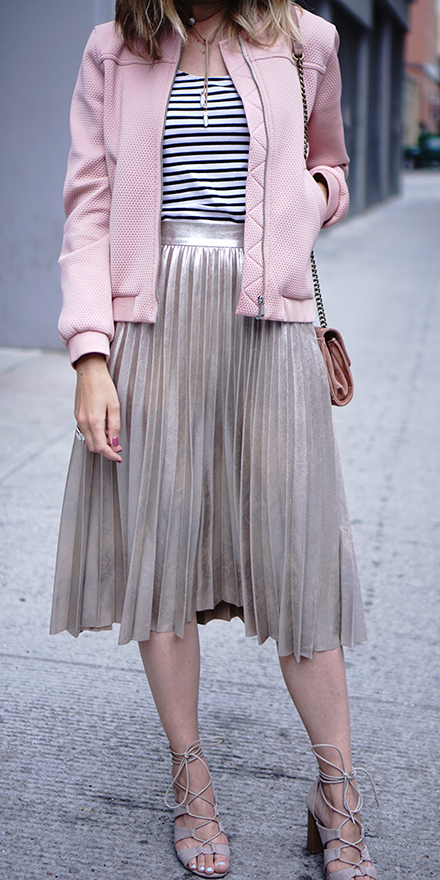 tan-midi-skirt-pleated-pink-light-jacket-bomber-metallic-spring-summer-blonde-lunch.jpg