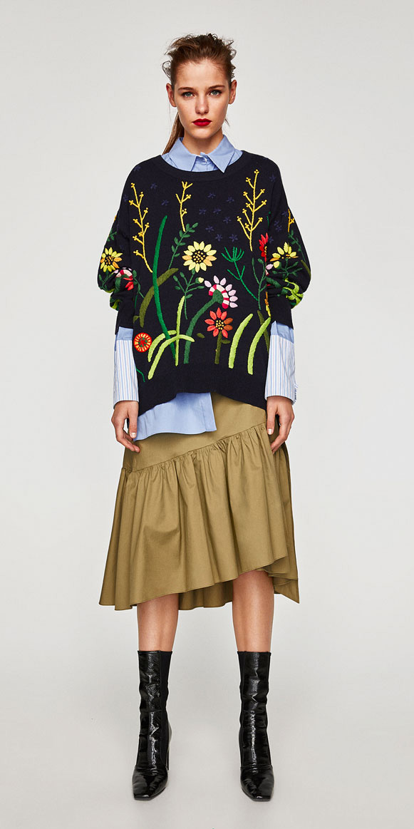 tan-midi-skirt-blue-light-collared-shirt-blue-navy-sweater-floral-print-black-shoe-booties-zara-pony-fall-winter-hairr-lunch.jpg