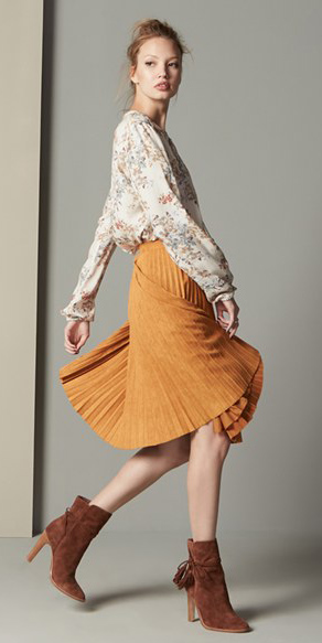 orange-midi-skirt-white-top-blouse-print-pleat-bun-mustard-peasant-wear-outfit-fall-winter-cognac-shoe-booties-hairr-lunch.jpg