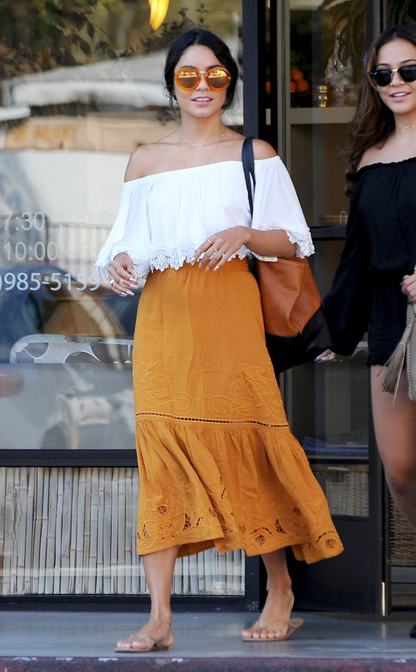 orange-midi-skirt-white-top-offshoulder-brun-sun-vanessahudgens-spring-summer-weekend.jpg