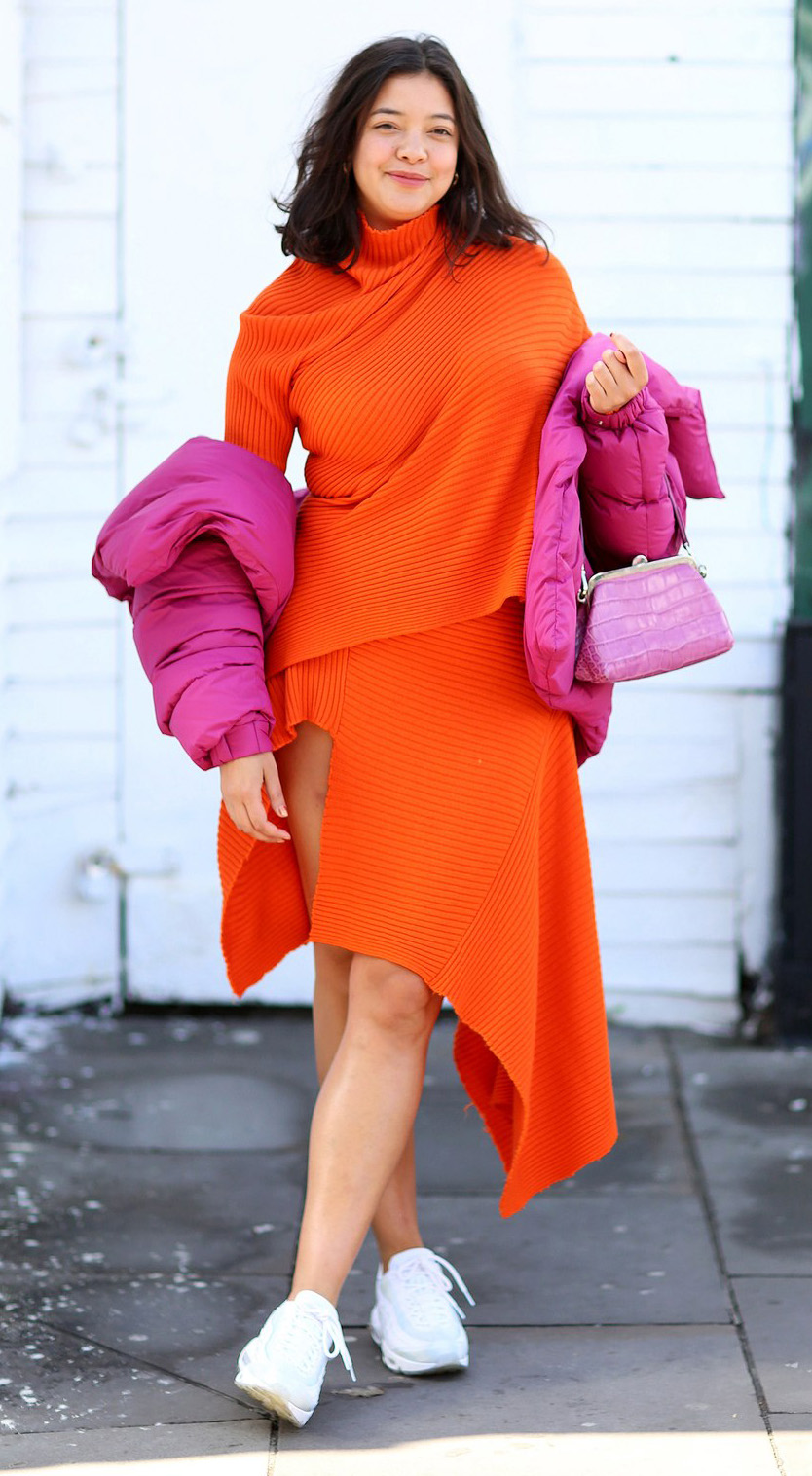 orange-midi-skirt-orange-sweater-turtleneck-pink-bag-hairr-pink-magenta-jacket-coat-puffer-lob-white-shoe-sneakers-spring-summer-lunch.jpg
