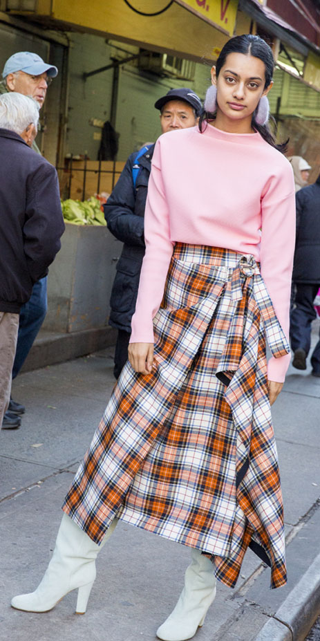 orange-midi-skirt-plaid-print-pink-light-sweater-earrings-bun-white-shoe-boots-brun-fall-winter-lunch.jpg