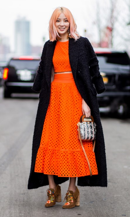 orange-midi-skirt-cognac-shoe-booties-orange-crop-top-lob-black-jacket-coat-fall-winter-dinner.jpg