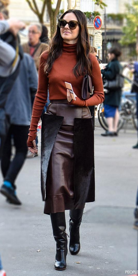 ab6740ab5 brown-midi-skirt-camel-sweater-turtleneck-tonal-black-