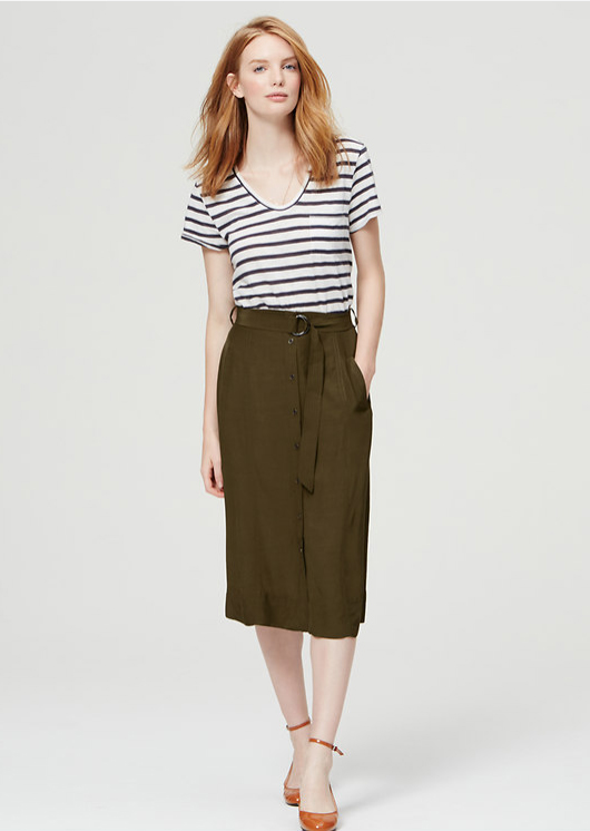 online retailer wholesale outlet lowest price Olive green midi skirts | HOWTOWEAR Fashion