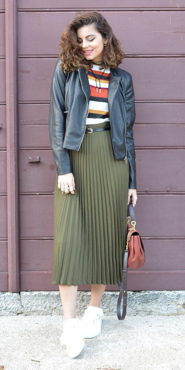 Olive Green Midi Skirts Howtowear Fashion