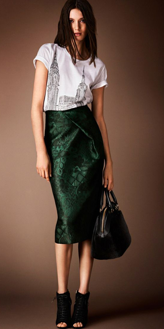 4d0cba360 green-dark-midi-skirt-white-graphic-tee-black-