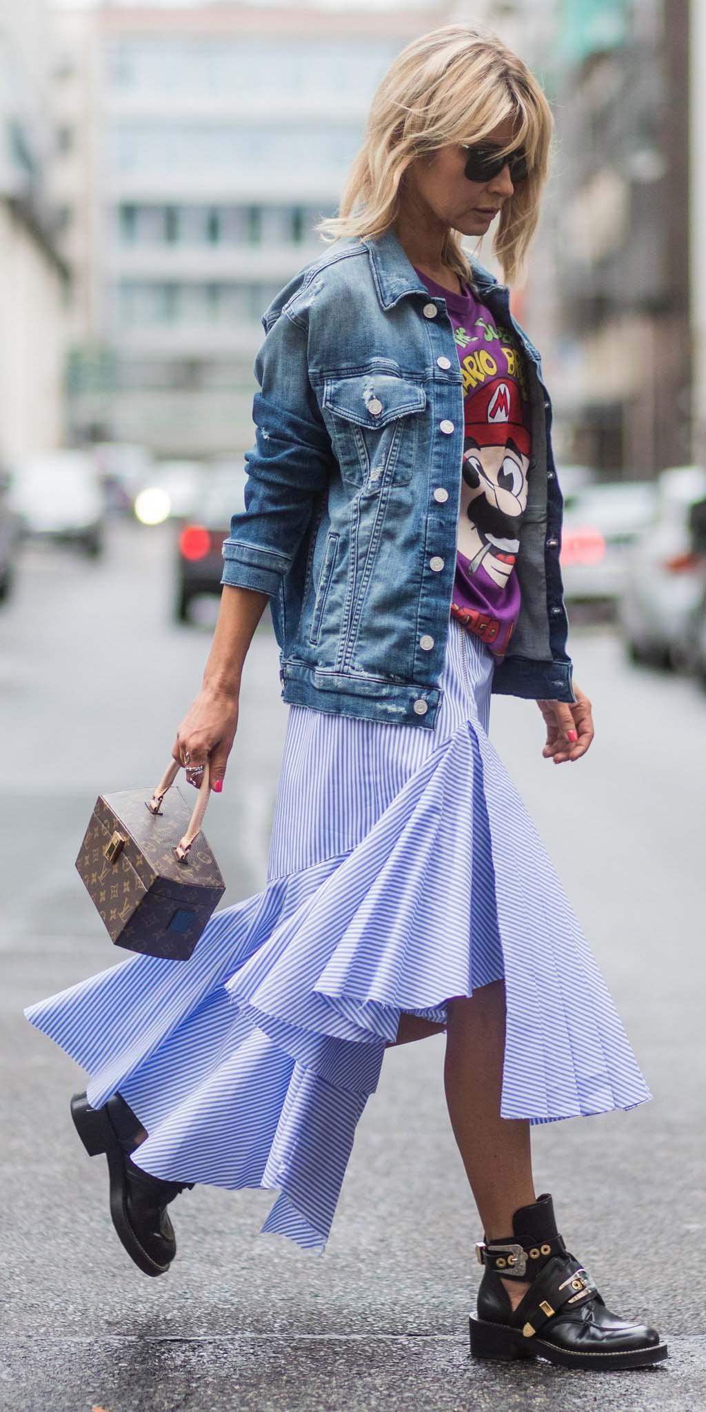 blue-light-midi-skirt-stripe-ruffle-purple-royal-graphic-tee-blue-med-jacket-jean-brown-bag-black-shoe-booties-fall-winter-blonde-weekend.jpg