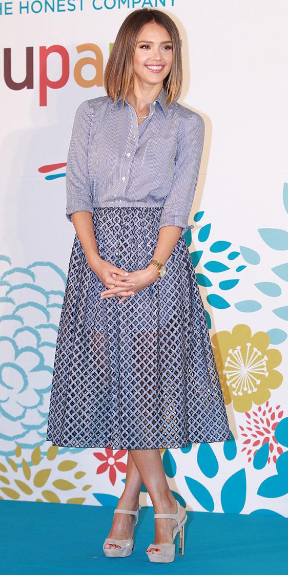 blue-light-midi-skirt-blue-light-collared-shirt-sheer-tan-shoe-sandalh-jessicaalba-spring-summer-hairr-lunch.jpg