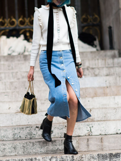 blue-light-midi-skirt-white-sweater-black-scarf-jean-button-wear-outfit-spring-summer-black-shoe-booties-lunch.jpg