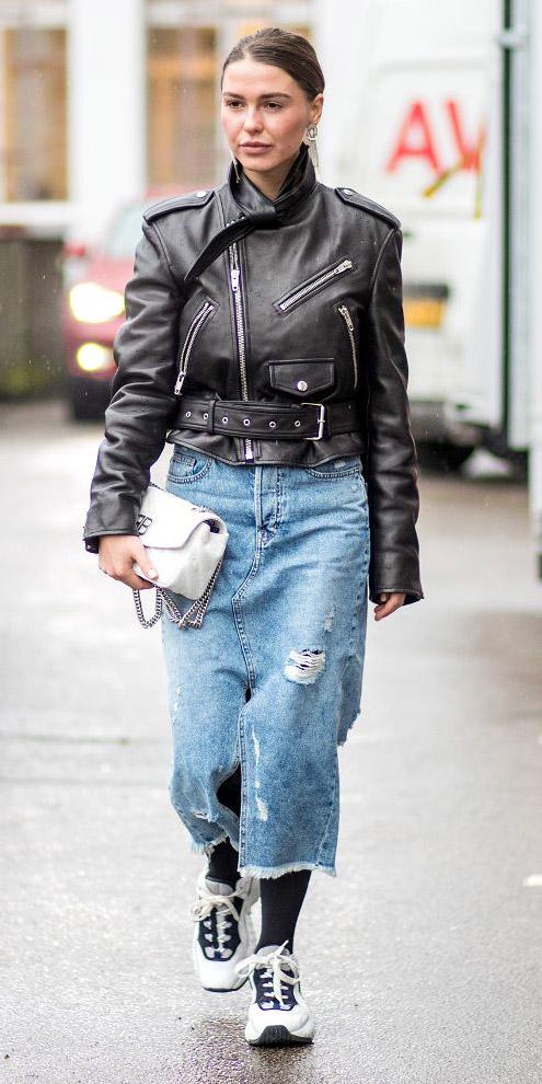 blue-light-midi-skirt-denim-white-bag-black-jacket-moto-blonde-bun-black-tights-white-shoe-sneakers-fall-winter-weekend.jpg