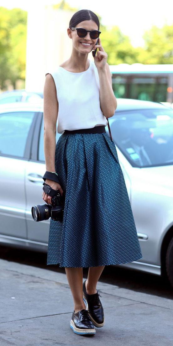 blue-med-midi-skirt-white-top-sun-bun-black-shoe-brogues-spring-summer-hairr-lunch.jpg
