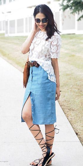 blue-med-midi-skirt-belt-sun-white-top-lace-sheer-black-shoe-sandals-gladiator-spring-summer-brun-lunch.jpg