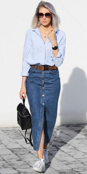 blue-med-midi-skirt-denim-button-belt-blue-light-collared-shirt-white-shoe-sneakers-blonde-sun-black-bag-spring-summer-weekend.jpg