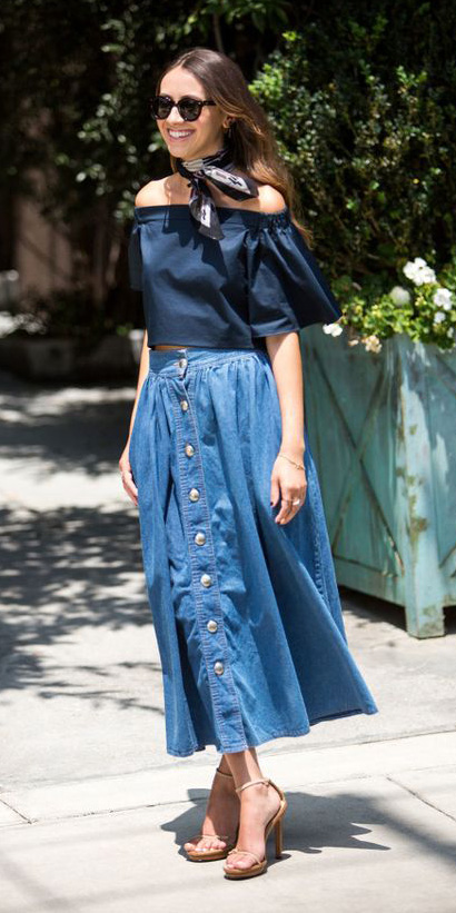 blue-med-midi-skirt-denim-black-scarf-neck-tan-shoe-sandalh-blue-navy-top-offshoulder-spring-summer-hairr-lunch.jpg