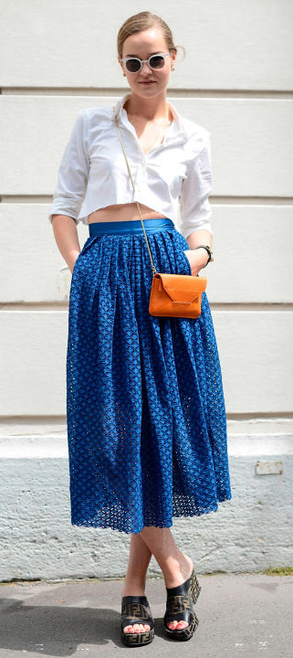 blue-med-midi-skirt-cobalt-white-crop-top-black-shoe-sandalw-blonde-bun-sun-spring-summer-lunch.jpg