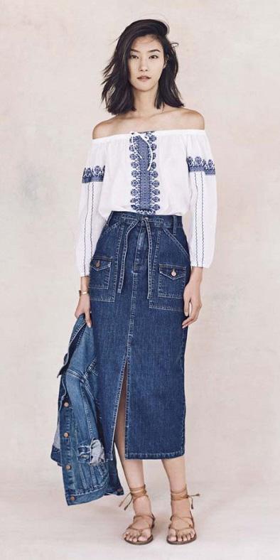 blue-med-midi-skirt-denim-white-top-blouse-peasant-brun-cognac-shoe-sandals-spring-summer-lunch.jpg