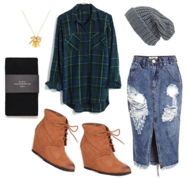 blue-med-midi-skirt-green-dark-plaid-shirt-wear-outfit-fall-winter-cognac-shoe-booties-beanie-black-tights-necklace-wedge-weekend.jpg