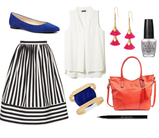 blue-navy-midi-skirt-white-top-howtowear-fashion-style-outfit-spring-summer-stripe-blue-shoe-flats-earrings-bracelet-cuff-nail-red-bag-work.jpg