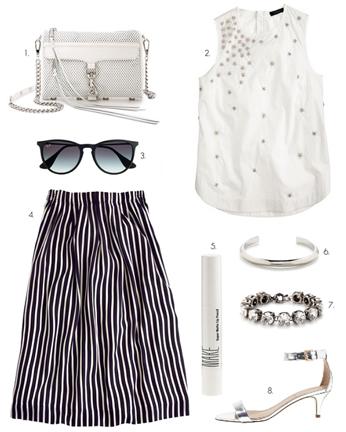 blue-navy-midi-skirt-white-top-stripe-print-gray-shoe-sandalh-sun-white-bag-bracelet-beaded-wear-outfit-spring-summer-dinner.jpg