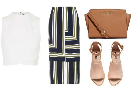 blue-navy-midi-skirt-white-top-stripe-cognac-bag-wear-outfit-spring-summer-tan-shoe-sandalh-blue-work.jpg