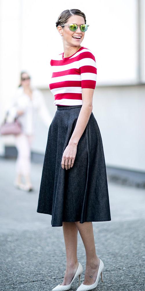 blue-navy-midi-skirt-red-tee-stripe-sun-bun-white-shoe-pumps-bold-spring-summer-lunch.jpg