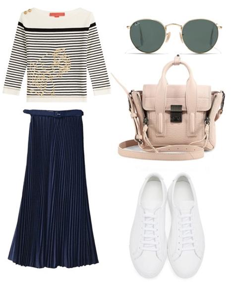 blue-navy-midi-skirt-blue-navy-tee-stripe-tan-bag-sun-white-shoe-sneakers-pleat-howtowear-fashion-style-outfit-fall-winter-lunch.jpg