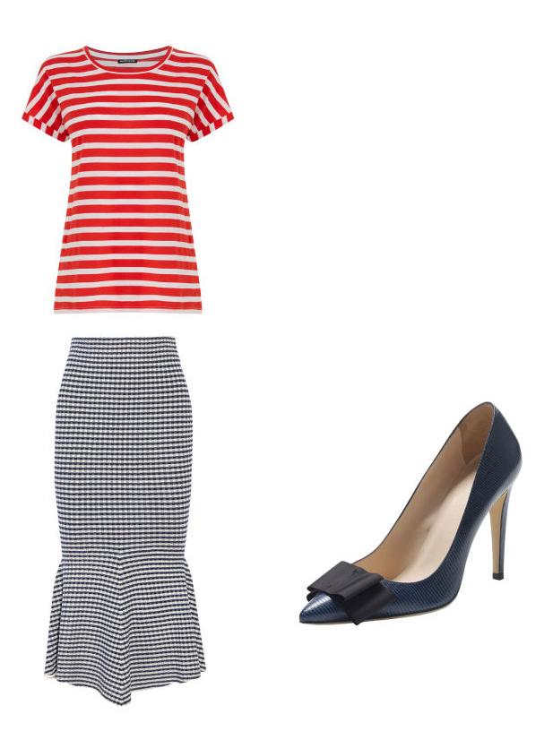 blue-navy-midi-skirt-red-tee-stripe-wear-outfit-spring-summer-mix-prints-gingham-blue-shoe-pumps-work.jpg
