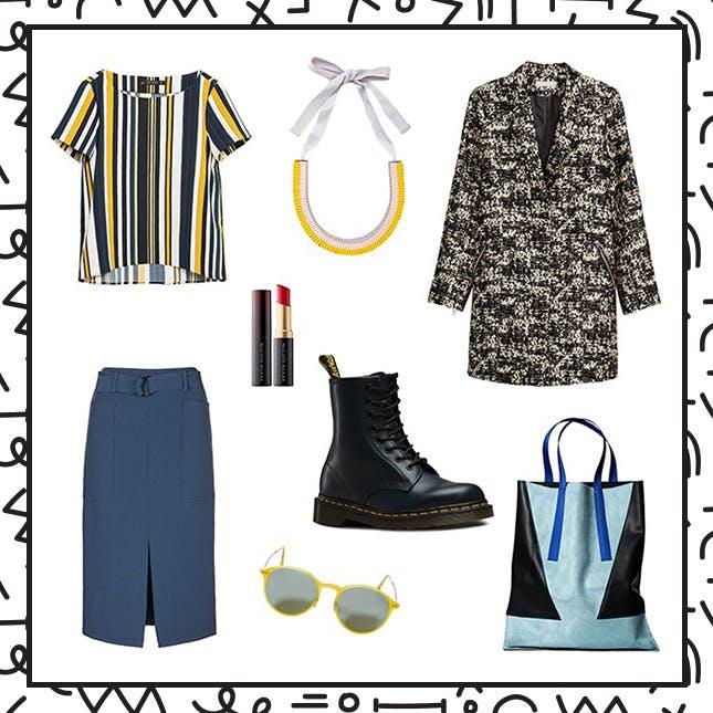 blue-navy-midi-skirt-black-shoe-booties-combat-necklace-yellow-top-vertical-stripe-black-jacket-coat-fall-winter-work.jpg