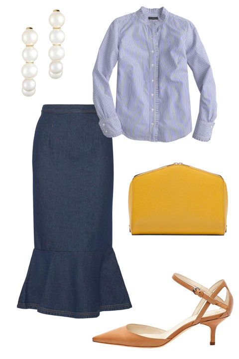 blue-navy-midi-skirt-blue-light-collared-shirt-pearl-earrings-cognac-shoe-pumps-yellow-bag-howtowear-fashion-style-outfit-spring-summer-work.jpg