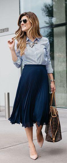 blue-navy-midi-skirt-blue-light-collared-shirt-tan-shoe-pumps-brown-bag-sun-howtowear-fashion-style-outfit-spring-summer-pleat-bib-necklace-hairr-work.jpg