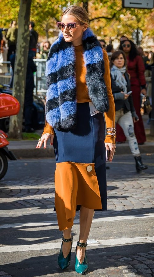 blue-navy-midi-skirt-blue-med-scarf-stole-fur-hairr-sun-yellow-sweater-colorblock-green-shoe-pumps-oliviapalermo-fall-winter-dinner.jpg
