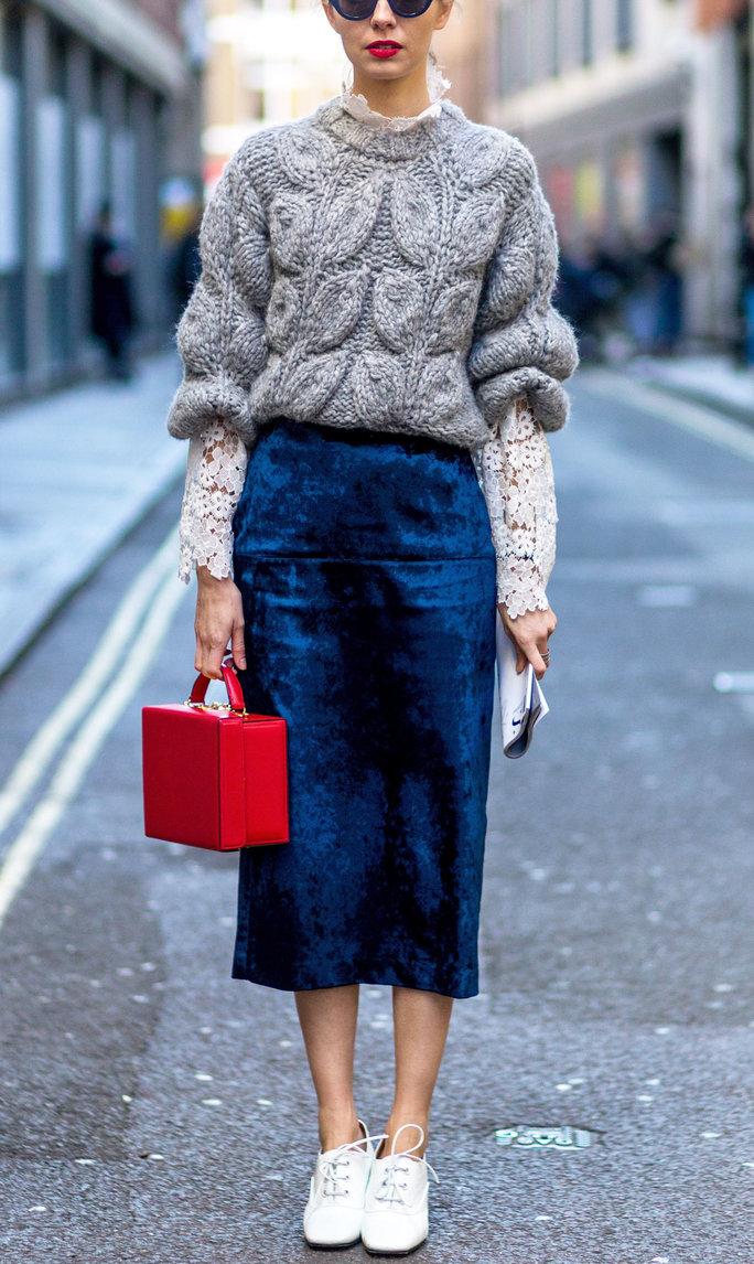 blue-navy-midi-skirt-white-top-lace-grayl-sweater-layer-red-bag-white-shoe-booties-velvet-fall-winter-blonde-lunch.jpg