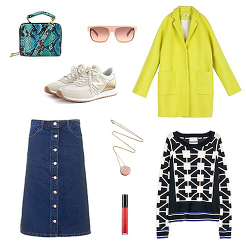 blue-navy-midi-skirt-black-sweater-print-yellow-jacket-coat-sun-green-bag-necklace-graphic-wear-outfit-fall-winter-white-shoe-sneakers-fashion-chartreuse-lunch.jpg