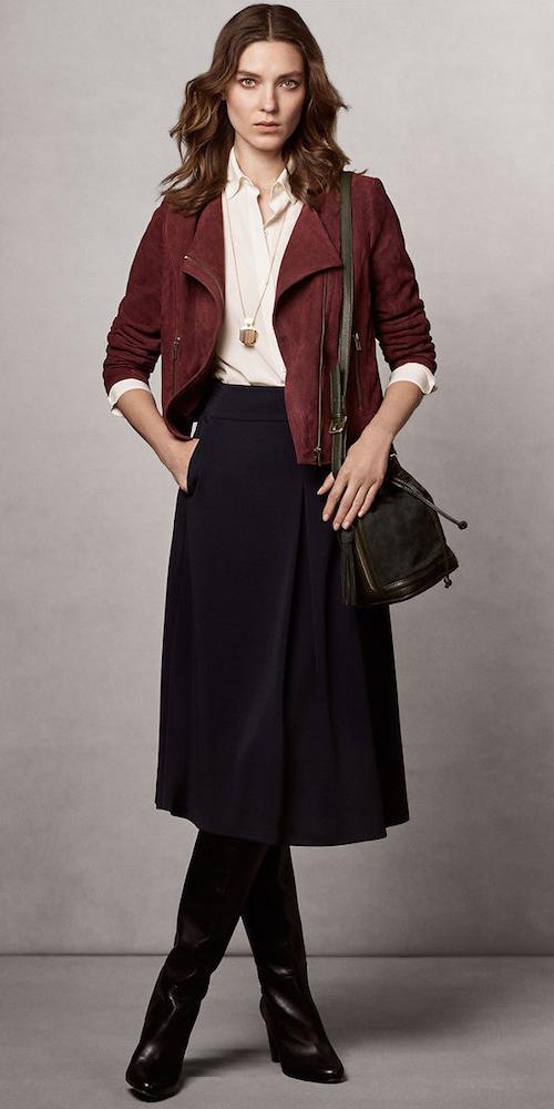 blue-navy-midi-skirt-white-top-blouse-green-bag-black-shoe-boots-burgundy-jacket-moto-fall-winter-hairr-work.jpg