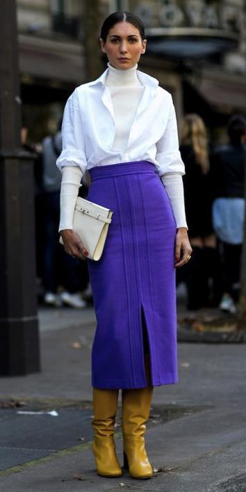 purple-royal-midi-skirt-yellow-shoe-boots-white-tee-turtleneck-white-collared-shirt-layer-hairr-bun-white-bag-clutch-fall-winter-dinner.jpg