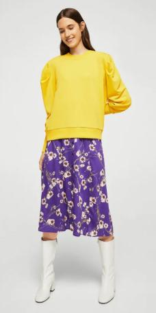 purple-royal-midi-skirt-floral-print-yellow-sweater-sweatshirt-hairr-white-shoe-booties-fall-winter-lunch.jpg