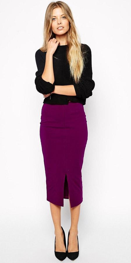 purple-royal-midi-skirt-black-sweater-black-shoe-pumps-fall-winter-blonde-work.jpg