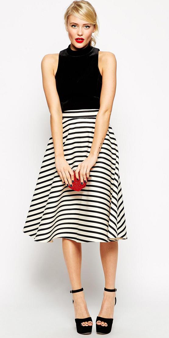white-midi-skirt-black-top-stripe-print-pony-red-bag-clutch-black-shoe-sandalh-wear-outfit-spring-summer-blonde-dinner.jpg