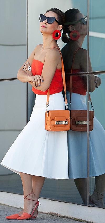 how-to-style-white-midi-skirt-orange-bag-orange-cami-orange-shoe-flats-earrings-bun-hairr-sun-spring-summer-fashion-lunch.jpg