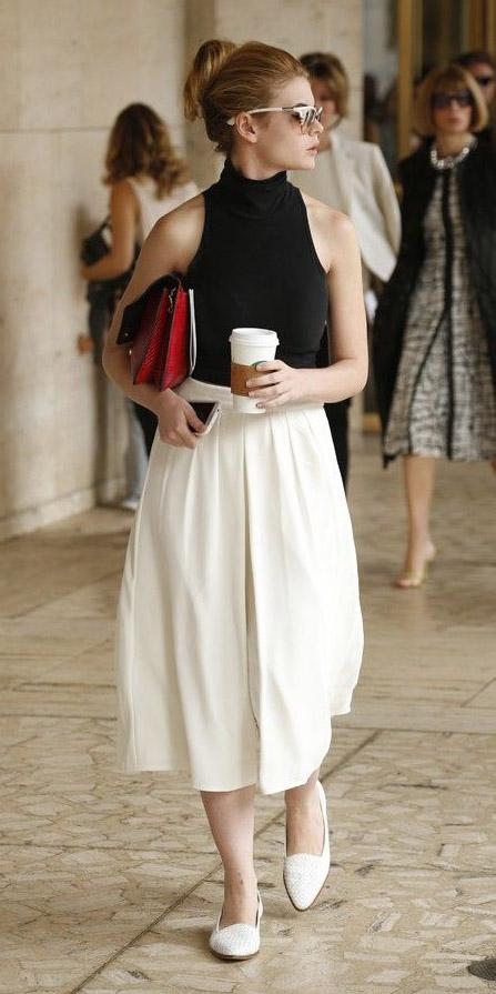white-midi-skirt-white-shoe-loafers-sun-bun-black-top-spring-summer-blonde-lunch.jpg