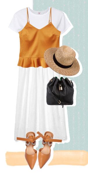 white-midi-skirt-white-tee-orange-shoe-pumps-black-bag-hat-straw-orange-cami-layer-spring-summer-lunch.jpg