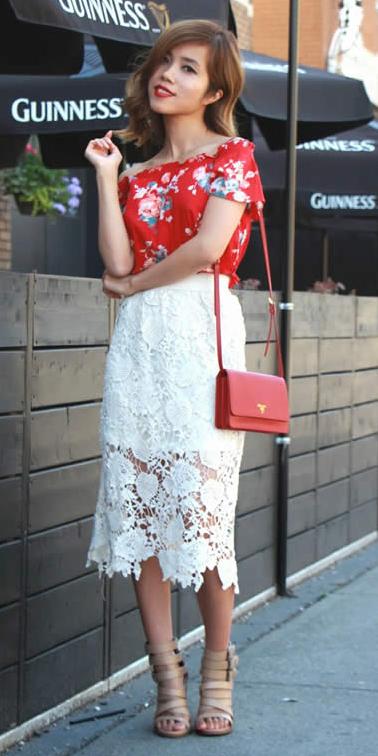 white-midi-skirt-lace-tan-shoe-sandalh-floral-print-red-bag-red-top-offshoulder-spring-summer-hairr-dinner.jpg