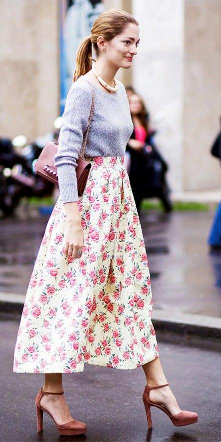 white-midi-skirt-floral-print-grayl-sweater-necklace-blonde-pony-magenta-shoe-pumps-burgundy-bag-fall-winter-dinner.jpg