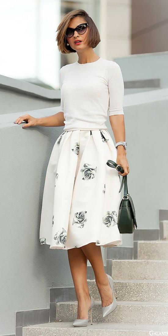 white-midi-skirt-floral-print-gray-shoe-pumps-sun-green-bag-white-sweater-spring-summer-hairr-work.jpg