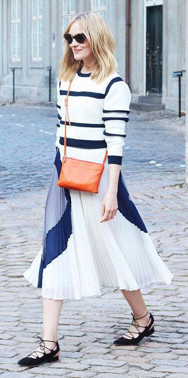 white-midi-skirt-white-sweater-stripe-orange-bag-black-shoe-flats-strappy-fall-winter-blonde-weekend.jpg
