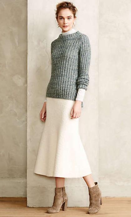 white-midi-skirt-blue-light-sweater-earrings-bun-tan-shoe-booties-wear-outfit-fall-winter-hairr-lunch.jpg