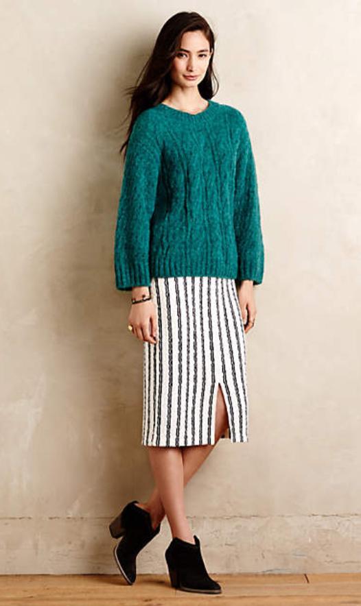 white-midi-skirt-green-emerald-sweater-teal-stripe-print-wear-outfit-fall-winter-black-shoe-booties-brun-lunch.jpg