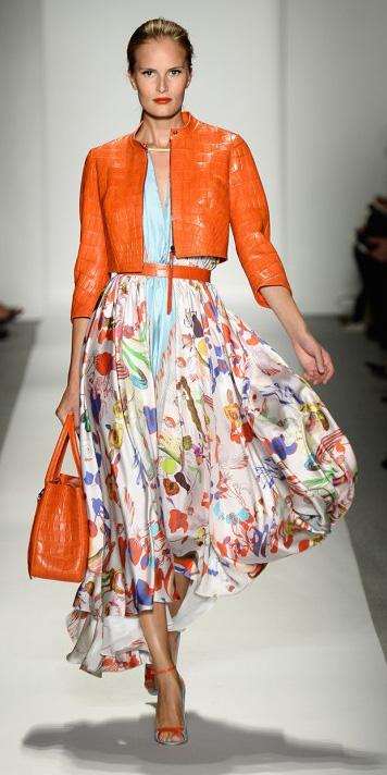 white-midi-skirt-blue-light-top-blouse-print-floral-orange-bag-hand-bun-orange-jacket-wear-outfit-spring-summer-orange-shoe-sandalh-runway-hairr-lunch.jpg