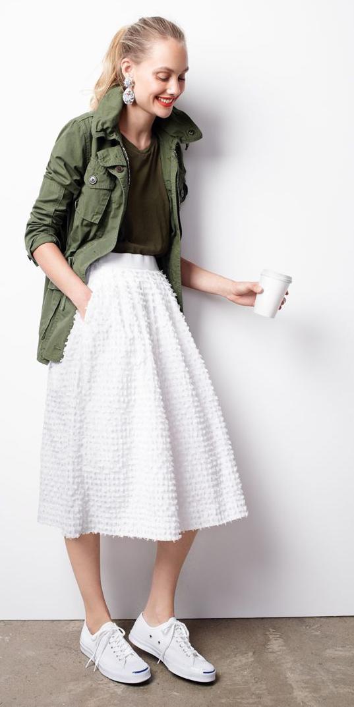 white-midi-skirt-green-olive-tee-blonde-pony-earrings-white-shoe-sneakers-green-olive-jacket-utility-spring-summer-weekend.jpg